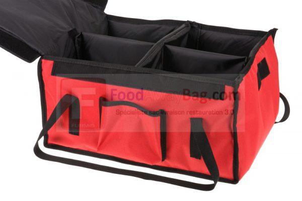 Sac professionnel de livraison repas 12 boites repas ou Lunchbox, disponible isotherme ou chauffant cloisons offertes version Rouge bordures noires sur commande