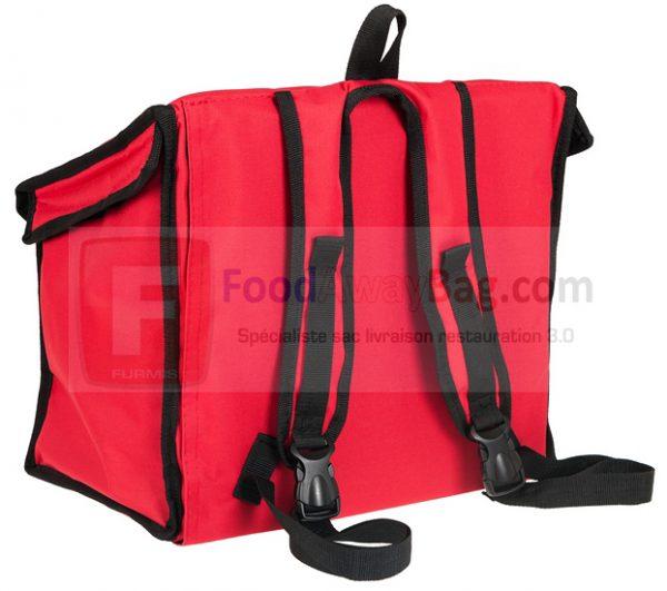Sac A dos livraison pour 6 boites repas Lunchbox version rouge bordure noire sur commande, version noire bordure rouges disponible