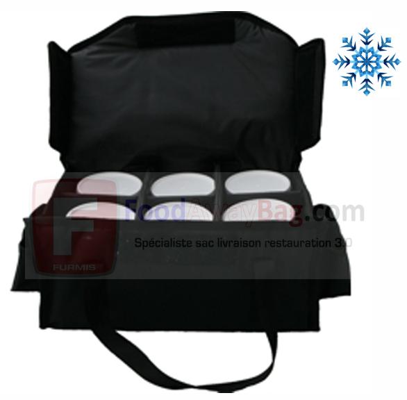 Sac spécial livraison de soupe contenance 12 bols de soupe chaude ou froide