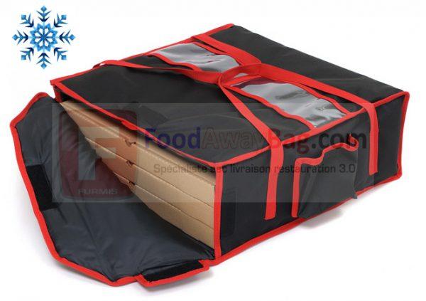 exemple boite A pizza dans Sac isotherme ou chauffant 4 pizza noir bordure rouge