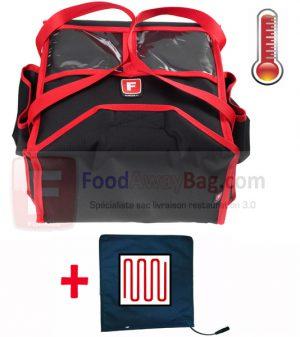 sac de livraison chauffant 4 pizza, maintiens la chaleur avec son enveloppe isotherme
