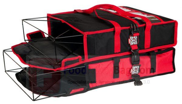Exemple d'empilage système Bag-on-Bag avec armature pour sac A Pizza
