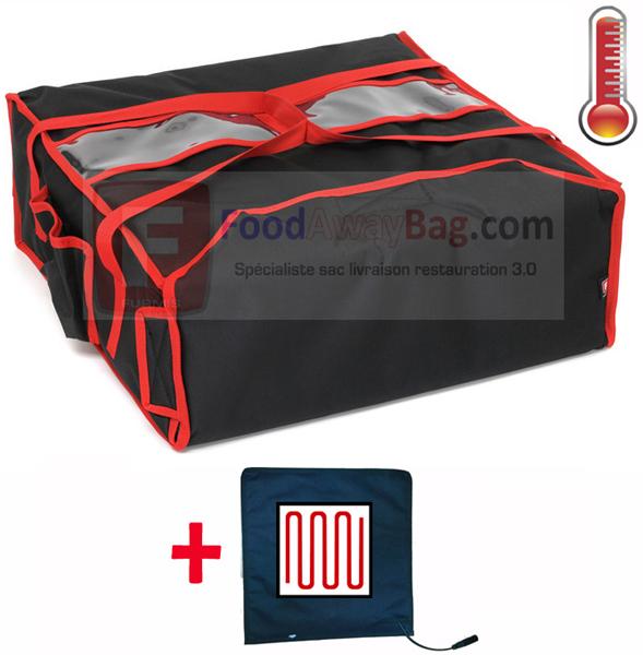 sac pizza isotherme et chauffant pour restaurant et livreur de pizza pour 4 pizza en boite de 45cm