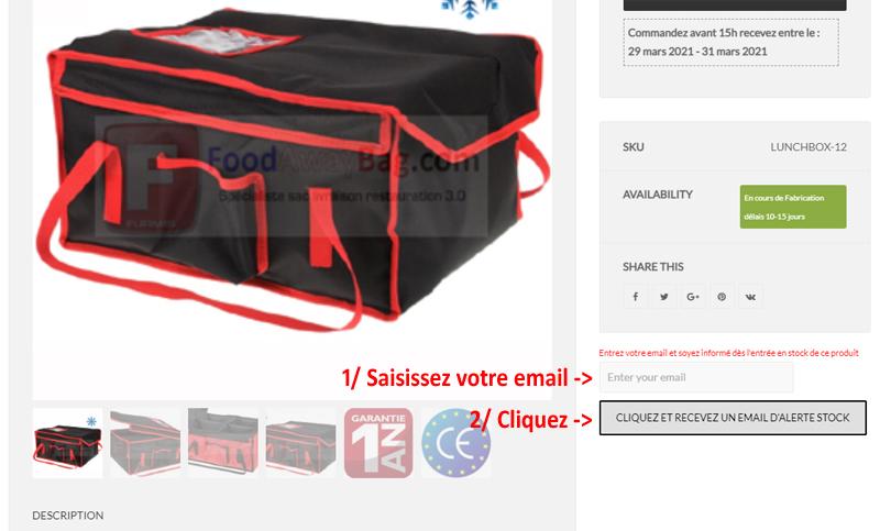 Nouveau : Alertes disponibilité sac de livraison restauration par email